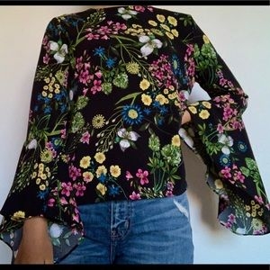Black Floral Blouse with Flare Sleeves